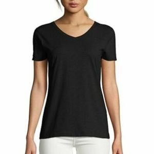 Hanes X-Temp Tagless Women's V-Neck Black T-Shirt